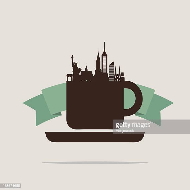 new yours skyline in a coffee mug with banner - st. patrick's cathedral manhattan stock illustrations, clip art, cartoons, & icons