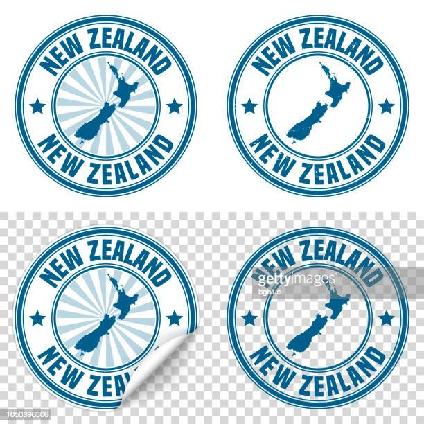 new zealand - blue sticker and stamp with name and map - new zealand stock illustrations