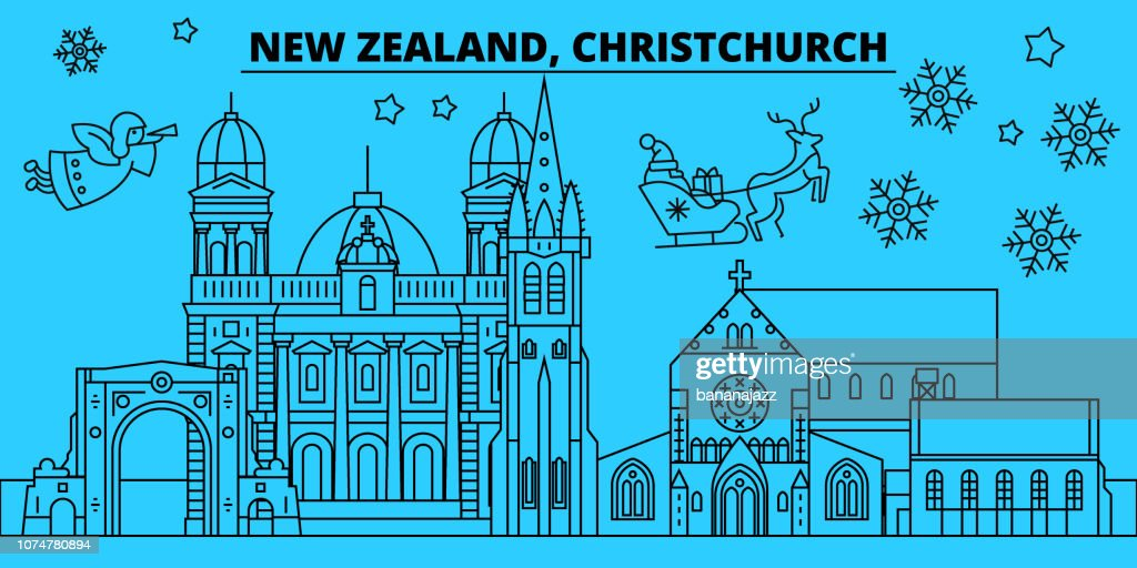 New Zealand, Christchurch winter holidays skyline. Merry Christmas, Happy New Year decorated banner with Santa Claus.New Zealand, Christchurch linear christmas city vector flat illustration