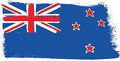 New Zealand Flag Vector Hand Painted with Rounded Brush
