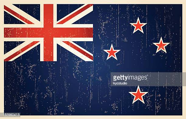 new zealand grunge vintage flag - british culture stock illustrations