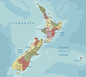 New Zealand - Highly detailed editable political map with labeling.