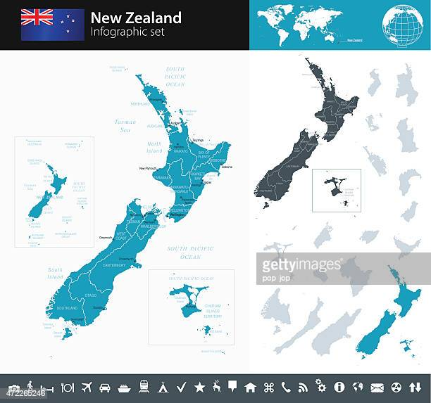 New Zealand - Infographic map - illustration