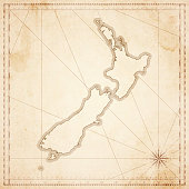 New Zealand map in retro vintage style - old textured paper