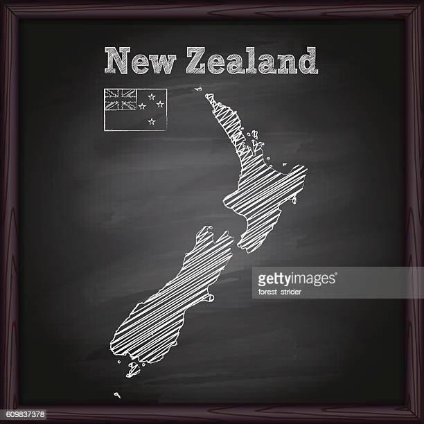 New Zealand map on chalkboard