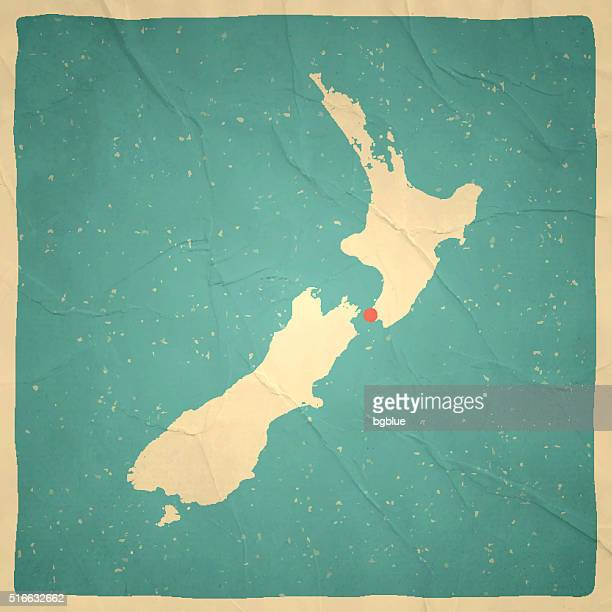 New Zealand Map on old paper - vintage texture
