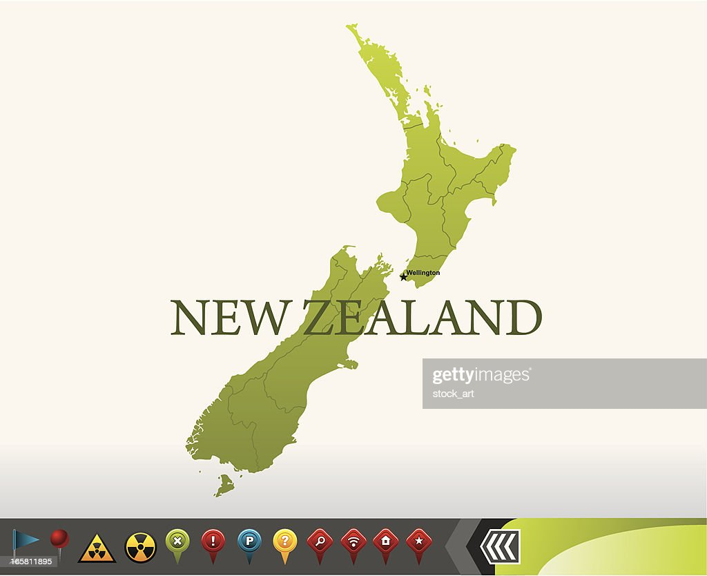 New Zealand map with navigation icons