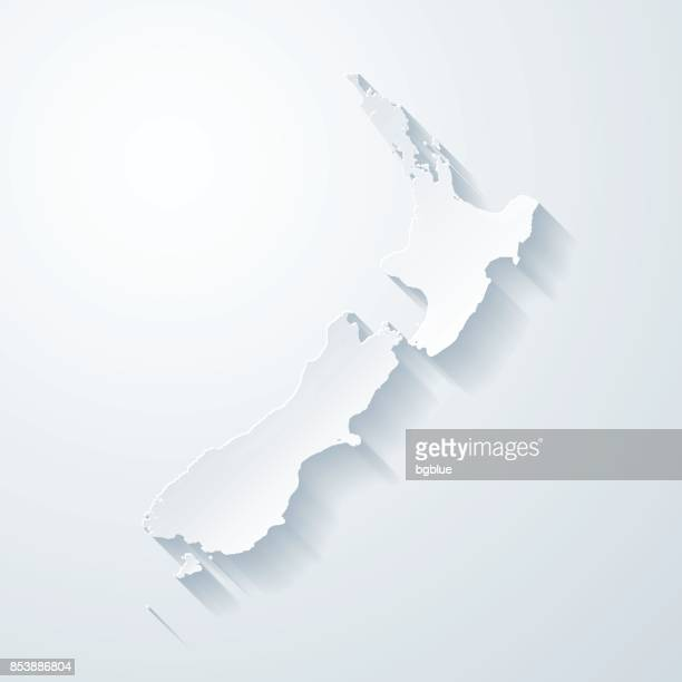 new zealand map with paper cut effect on blank background - new zealand stock illustrations