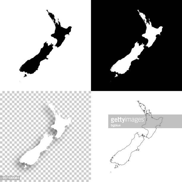 new zealand maps for design - blank, white and black backgrounds - new zealand stock illustrations