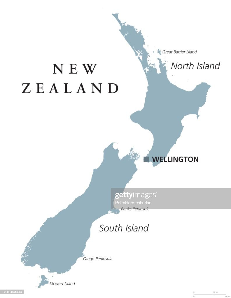 New Zealand Political Map Vector Art | Getty Images