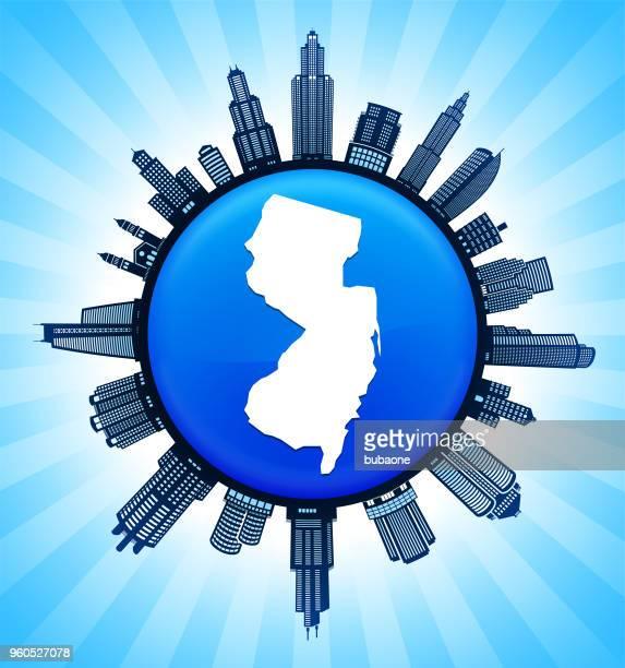new_jersey staatliche karte auf demokratische blue city skyline hintergrund - gewerbeimmobilie stock-grafiken, -clipart, -cartoons und -symbole