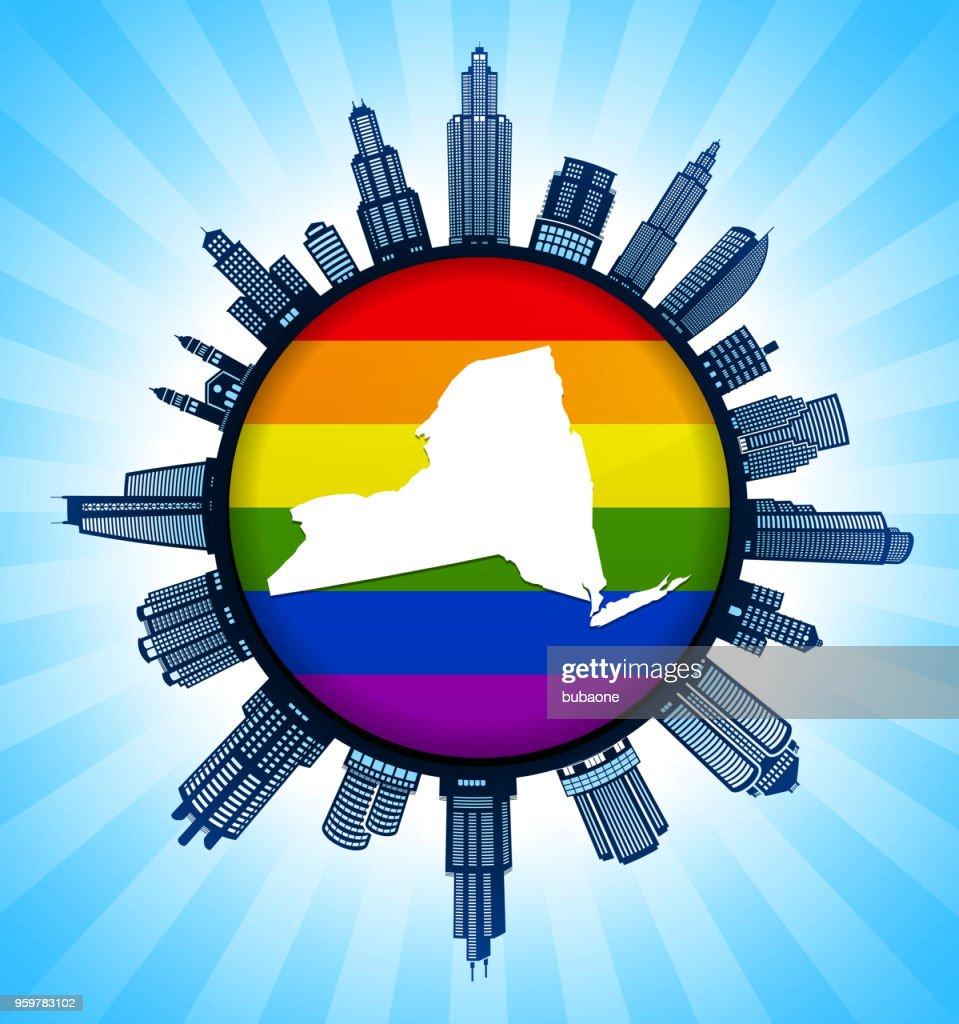 New_York staatliche Karte auf Gay Pride Stadt Skyline Hintergrund : Stock-Illustration