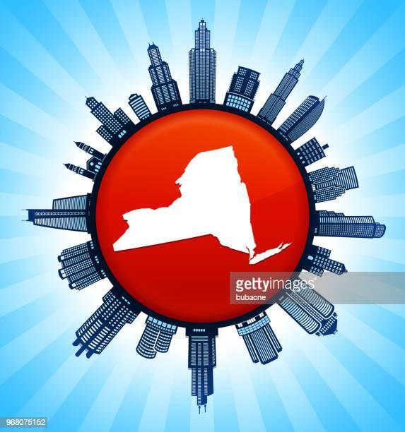 new_york staatliche karte auf republikanische rote stadt skyline hintergrund - gewerbeimmobilie stock-grafiken, -clipart, -cartoons und -symbole