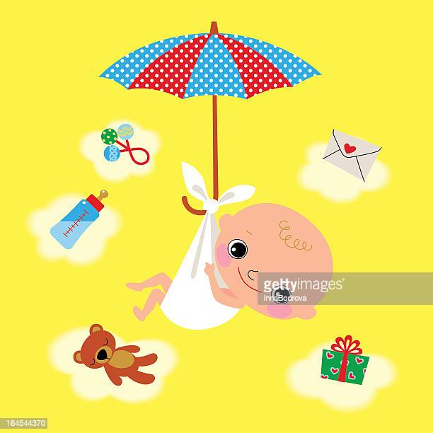 ilustraciones, imágenes clip art, dibujos animados e iconos de stock de recién nacido y sombrilla. - baby blanket