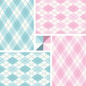 Newborn argyle seamless pattern set