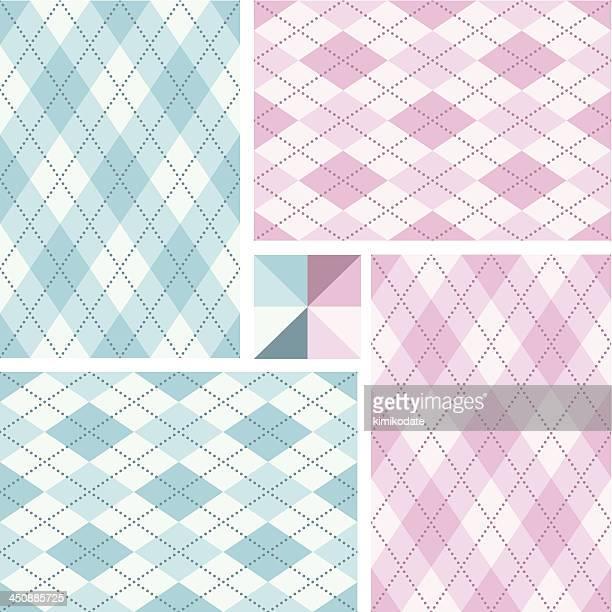 新生児のアーガイルシームレスなパターンのセット - アーガイル模様点のイラスト素材/クリップアート素材/マンガ素材/アイコン素材