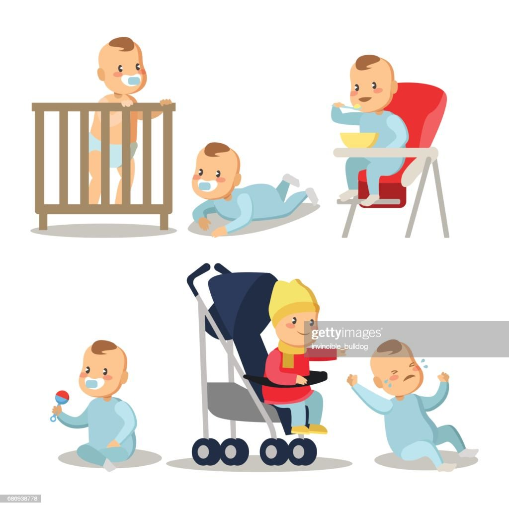 Newborn Baby Boy Cartoons Set