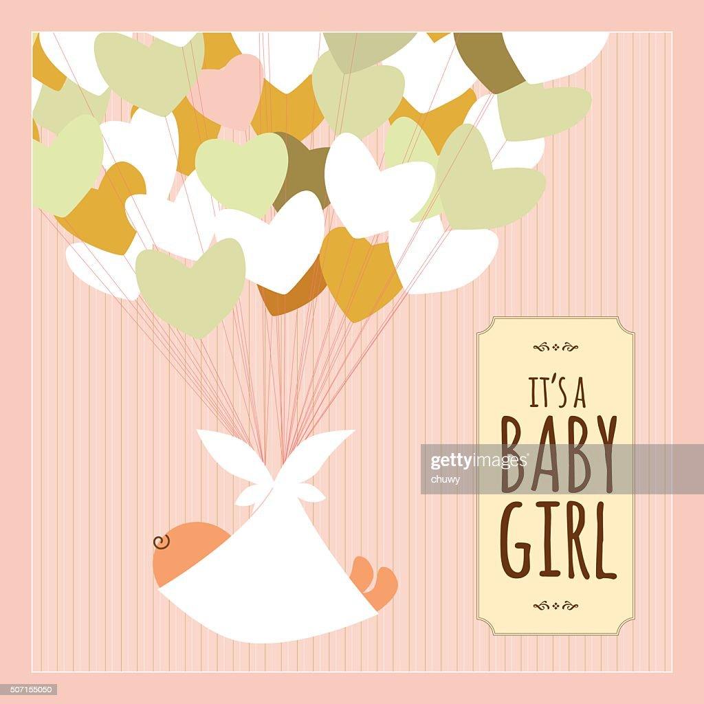 newborn baby girl heart love text banner pink vintage vector art