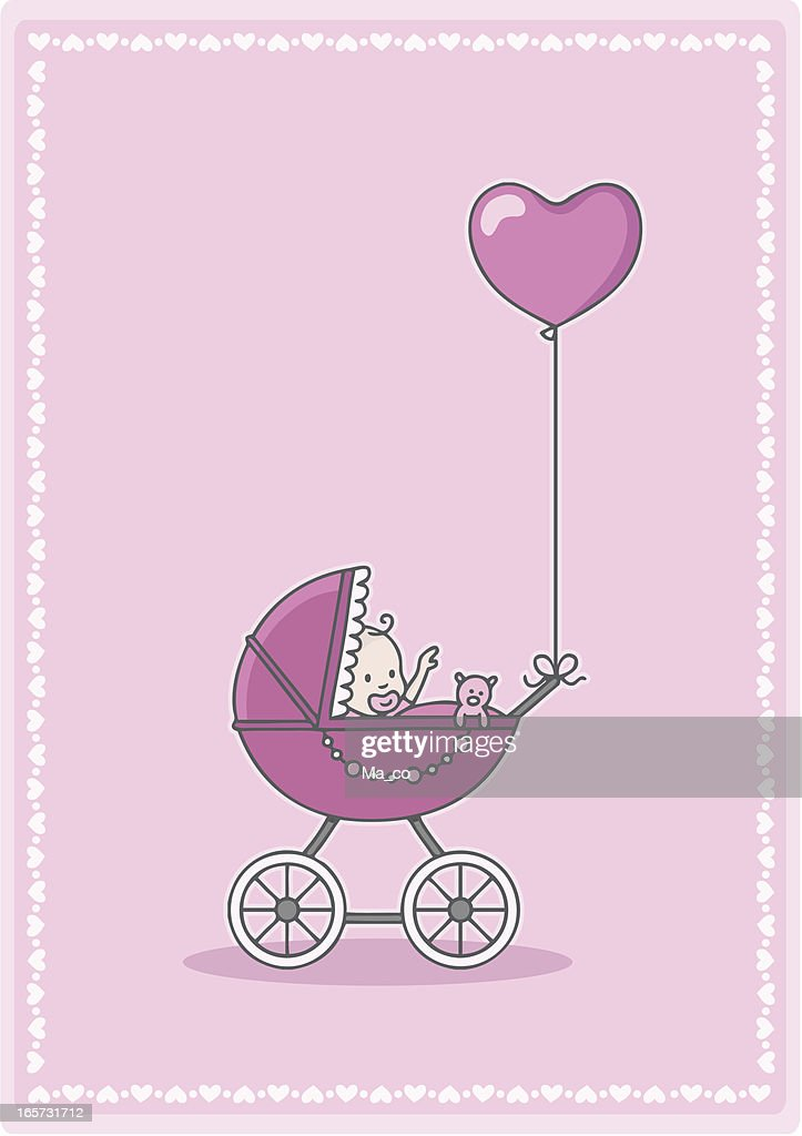 newborn baby girl in the stroller with heart balloon