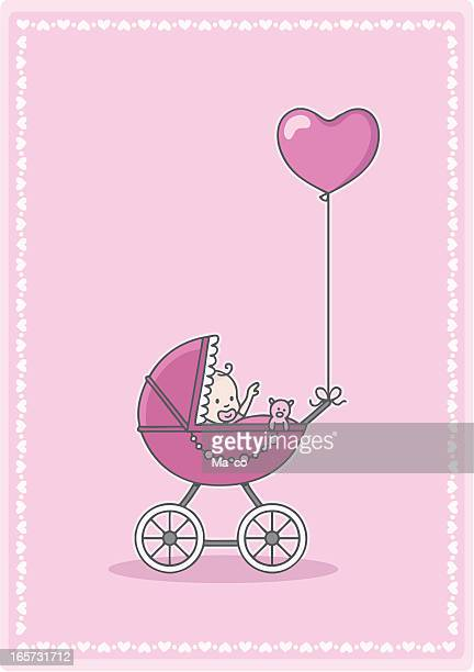 newborn baby girl in the stroller with heart balloon - three wheeled pushchair stock illustrations, clip art, cartoons, & icons
