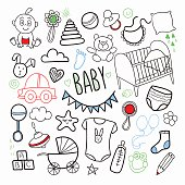 Newborn Baby Hand Drawn Doodle with Toys