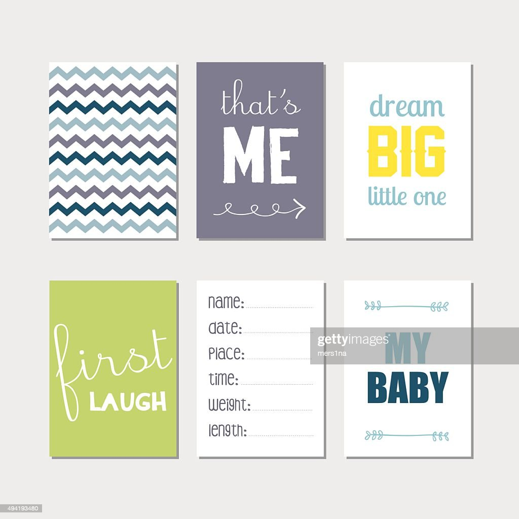 Newborn baby journal cards set