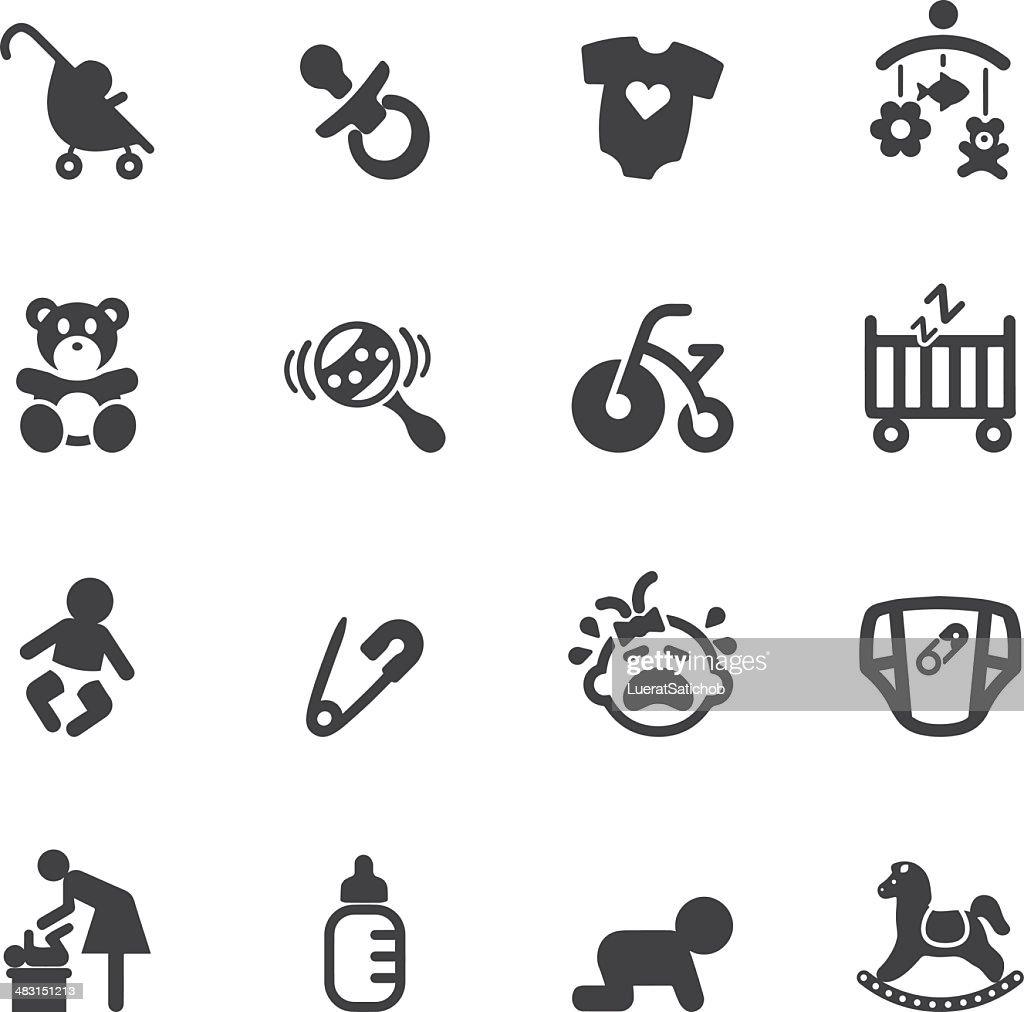 Newborn baby Silhouette  icons : stock illustration