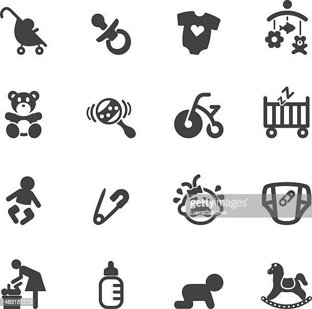 newborn baby silhouette  icons - baby carriage stock illustrations