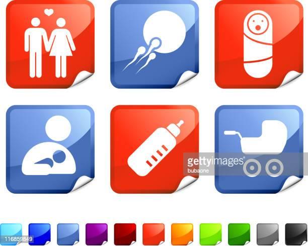 ilustraciones, imágenes clip art, dibujos animados e iconos de stock de vector conjunto de iconos de bebé recién nacido - lactancia materna