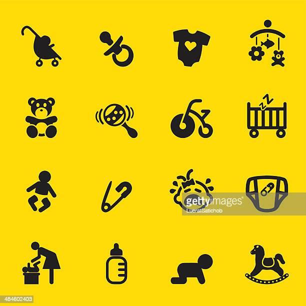 Newborn baby Yellow Silhouette icons