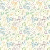 Newborn clothes and accessories repeating background