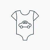 Newborn clothes icon. Baby shirt wear sign.