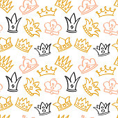 Newborn cute girl vector seamless pattern with doodle crowns
