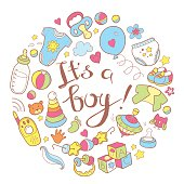 Newborn infant themed cute doodle round illustration. It is a bo