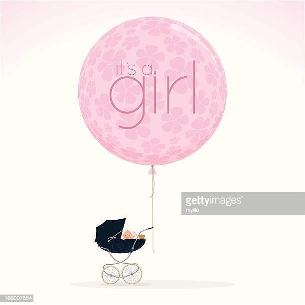 Neugeborenes Kinderwagen spazieren Kinderwagen itisagirl babyshower süße Rosa Vektor-illustration