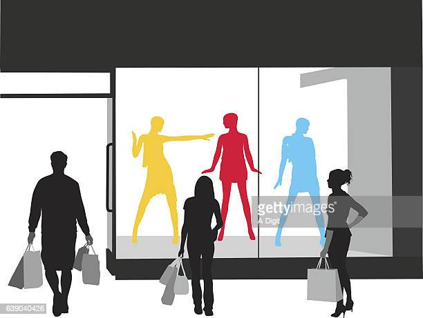 newest fashion store vector silhouette - mannequin stock illustrations, clip art, cartoons, & icons