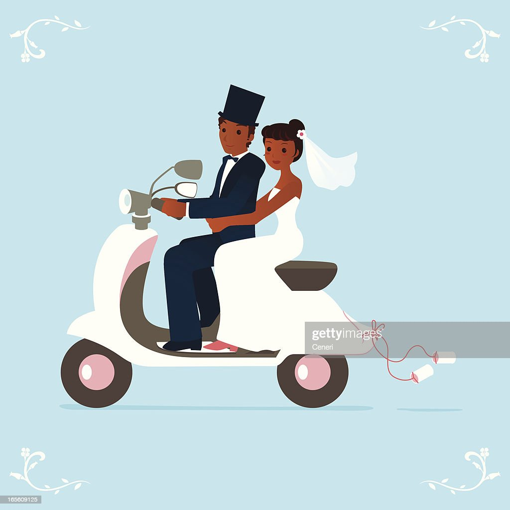 newlywed bride and groom on a scooter : stock illustration