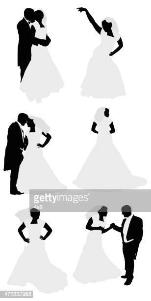 ilustraciones, imágenes clip art, dibujos animados e iconos de stock de pareja de recién casados - pareja bailando cuerpo entero