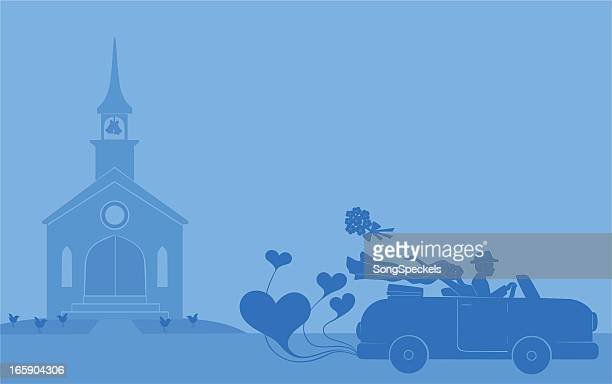 newlyweds leave for honeymoon - disembarking stock illustrations