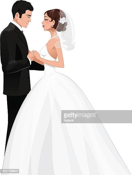newlyweds - wedding dress stock illustrations