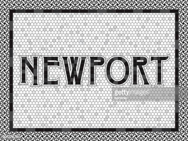 newport old fashioned mosaic tile typography - newport wales stock illustrations
