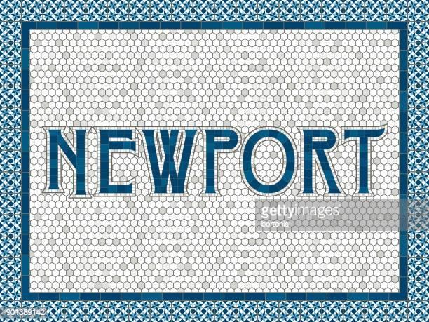 ニューポート古い昔ながらのモザイク タイル タイポグラフィ - ニューポート点のイラスト素材/クリップアート素材/マンガ素材/アイコン素材