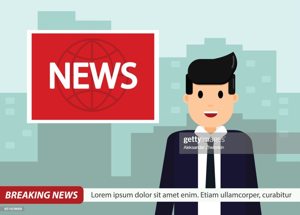 News Anchor On TV Breaking Background Man In Suit And Tie Vector Illustration Flat Design