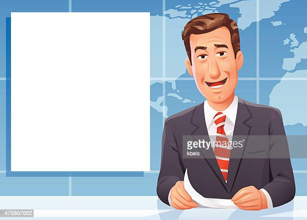 news anchor - television industry stock illustrations