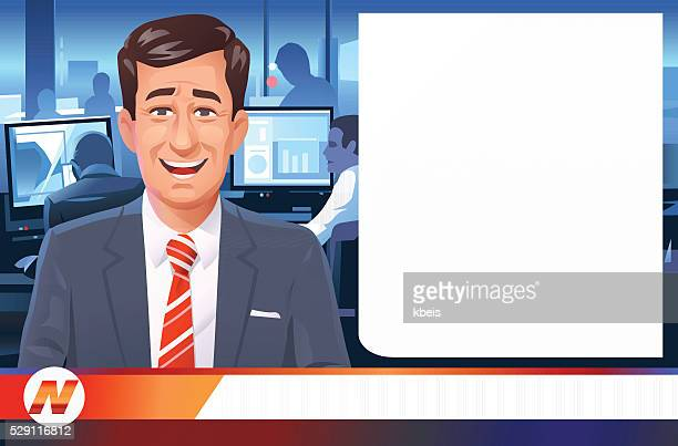 news anchorman - television industry stock illustrations
