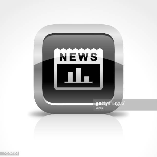 news and chart glossy button icon - proofreading stock illustrations, clip art, cartoons, & icons