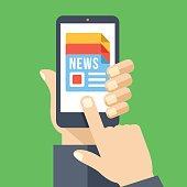 News app on smartphone screen. Mass media. Flat vector illustration