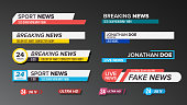 TV News Bars Set Vector. Sign Of Lower Third. Label Strip, Icon. Media Tag For Television Broadcast. Isolated Illustration
