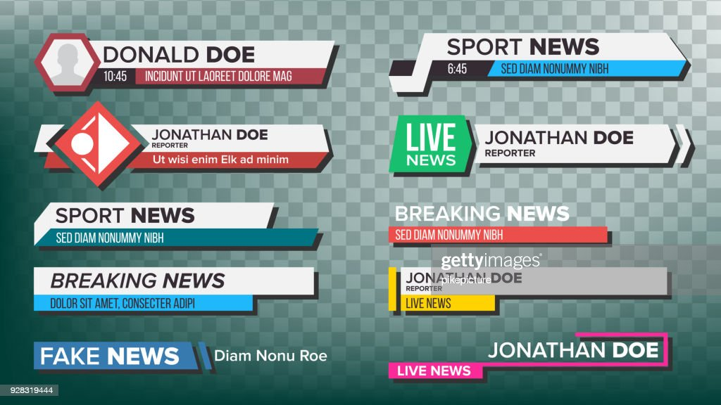 TV News Bars Set Vector. Streaming Video News Sign. Breaking, Sport News. Interface Sign. Isolated Illustration