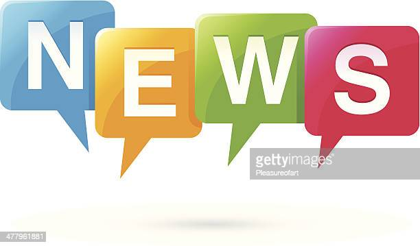news buttons - vector illustration - announcement message stock illustrations